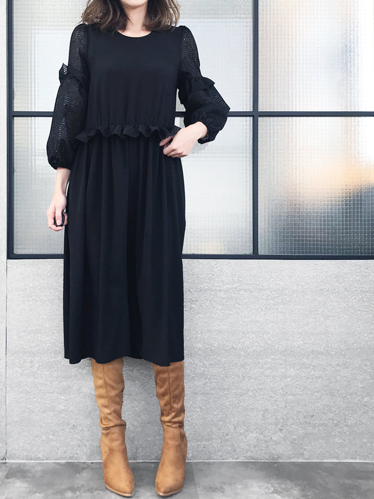 Further Sale! Black Blousy Lace Sleeves Ruffle Dress