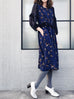 Further Sale! Navy Floral Prints Patch Lace Sleeves Ruffle Dress