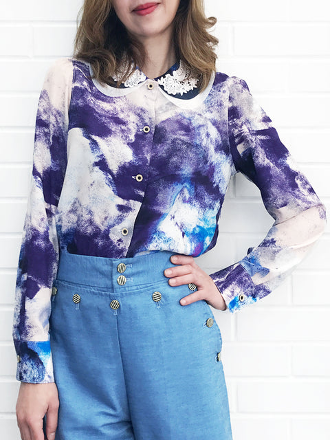 Further Sale! Double Peter Pan Lace Collar Print Blouse