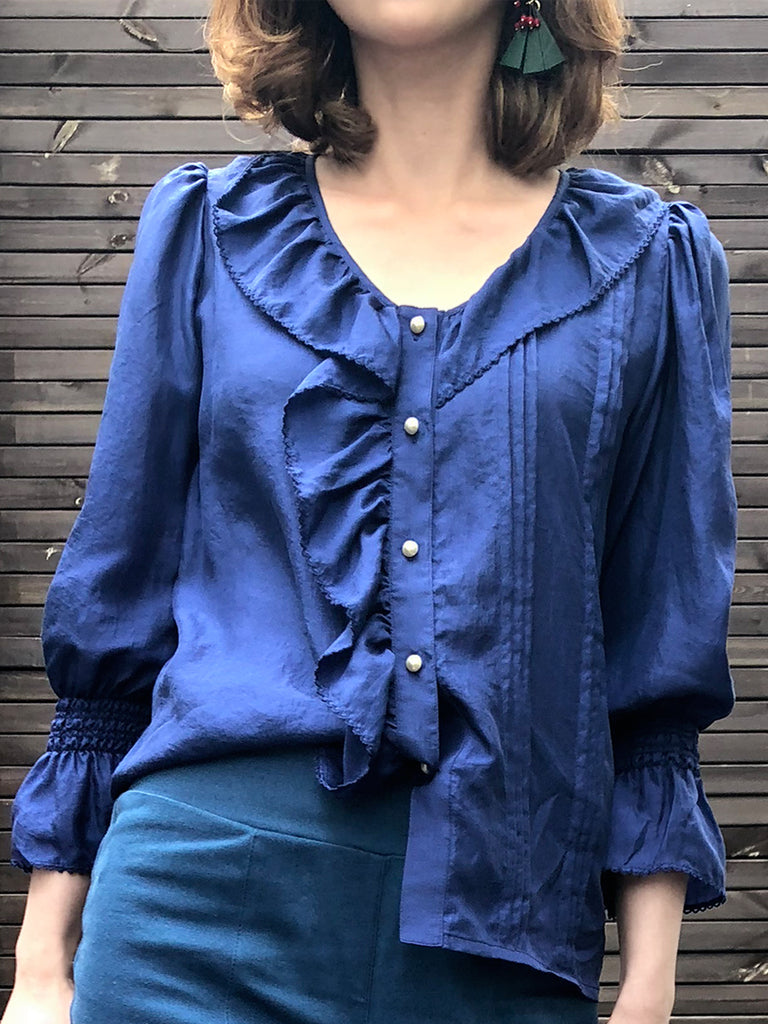Further Sale! Blue Silk Ruffle Collar Pleats Panel Blouse