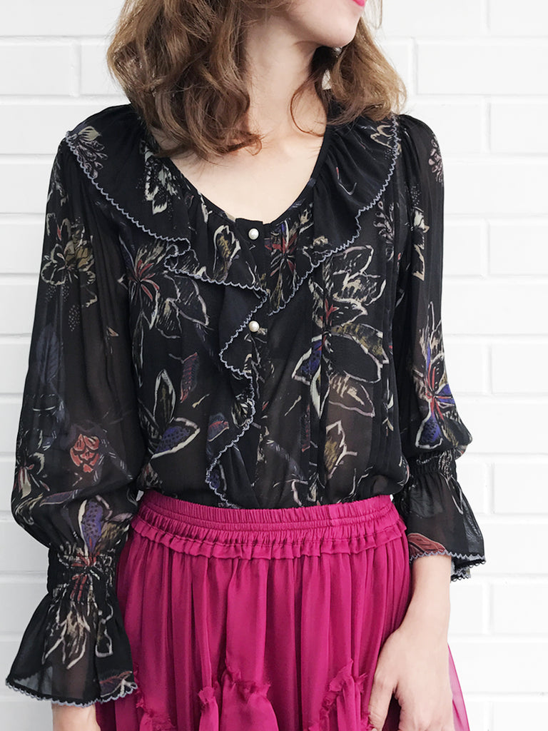 Further Sale! Black Print Ruffle Collar Pleats Panel Blouse