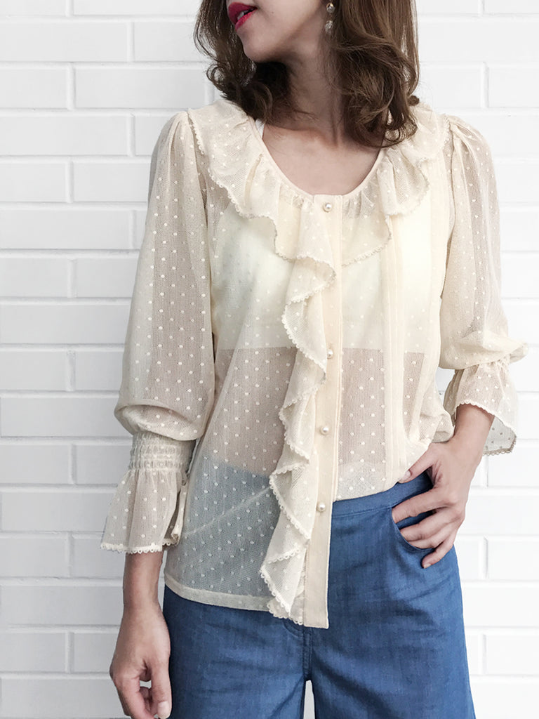 Further Sale! Sweetly Dotted Ivory Ruffle Collar Pleats Panel Blouse