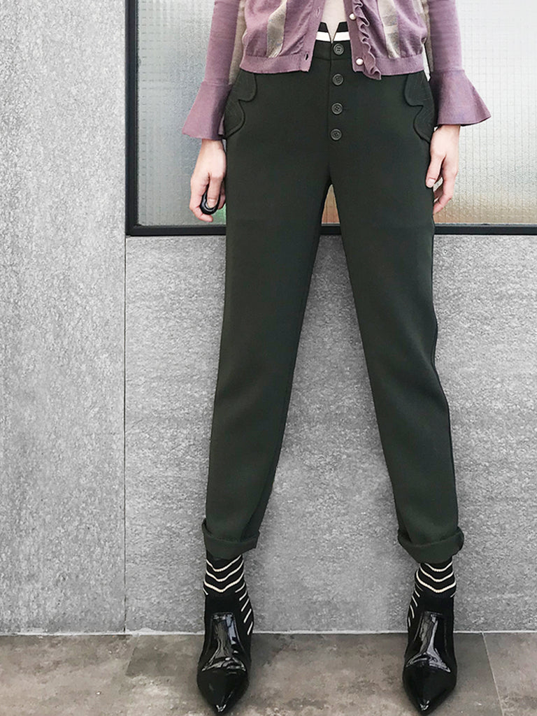 Surprise Sale! Seaweed Green Scalloped Pocket Flaps Tuxedo Trousers