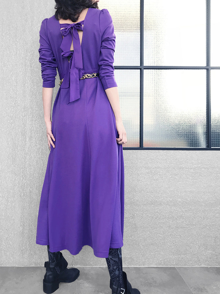 Further Sale! Violet Purple Tie-Back Cotton Blend Maxi Dress