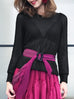 SPECIAL! Black Lacy Open Stitch Puff Sleeve Pullover