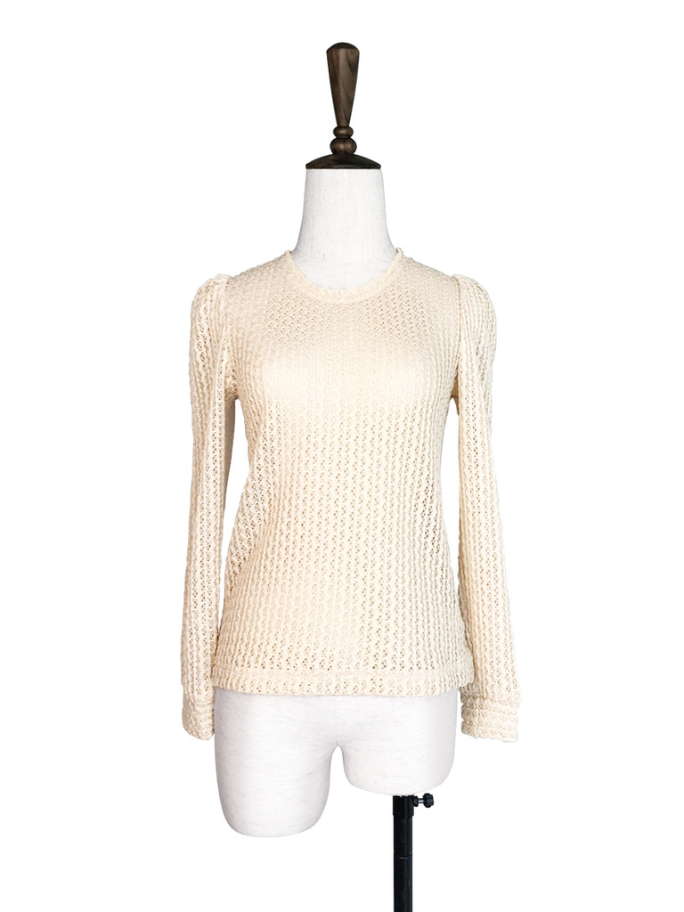SPECIAL! Ivory Beige Lacy Open Stitch Puff Sleeve Pullover