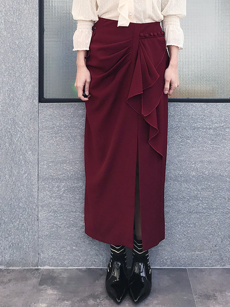 Further Sale! Burgundy Ruffle Side Ponte Pencil Maxi Skirt