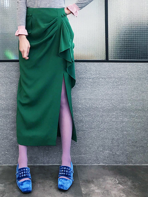Further Sale! Forest Green Ruffle Side Ponte Pencil Maxi Skirt