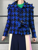 Further Sale! Blue-Black Houndstooth Fringe Tweed Jacket