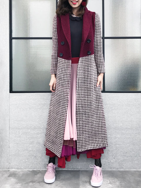 Surprise Sale! Burgundy and Houndstooth Colourblock Woolen Long Coat