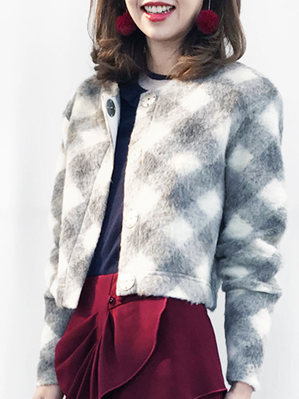 Further Sale! Grey Ivory Checks Woollen Furry Cropped Coat