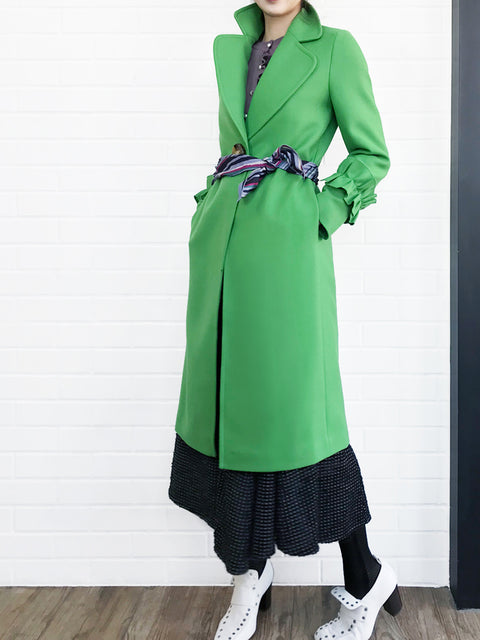 Last Chance! Green Ruffle Cuff Wool Coat With Printed Removable Scarf