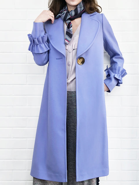 Last Chance! Bluish Lilac Ruffle Cuff Wool Coat With Printed Removable Scarf