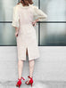 Further Sale! Blanched Almond Pale Pink Shades Square Lace Ruffle Dress