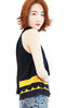 Surprise Sale! Black-Yellow Scallop Patched Layer Edge Halter Top