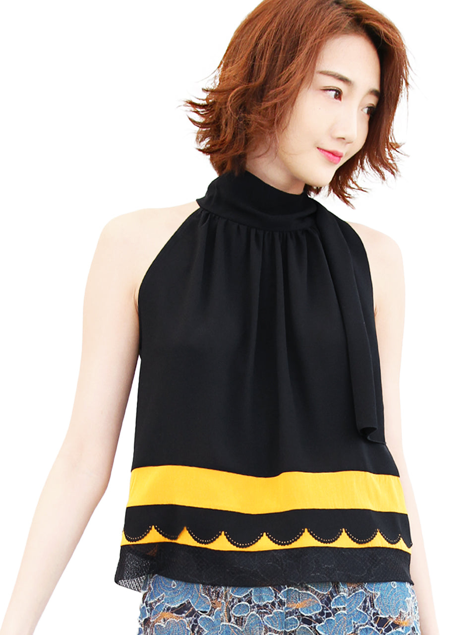 Anniversary Sale! Black-Yellow Scallop Patched Layer Edge Halter Top