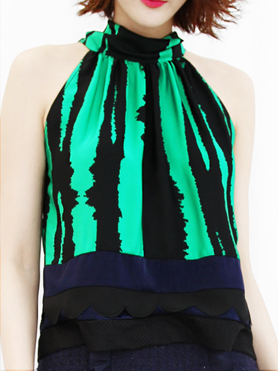 Surprise Sale! Green-Black Prints Scallop Patched Layer Edge Halter Top