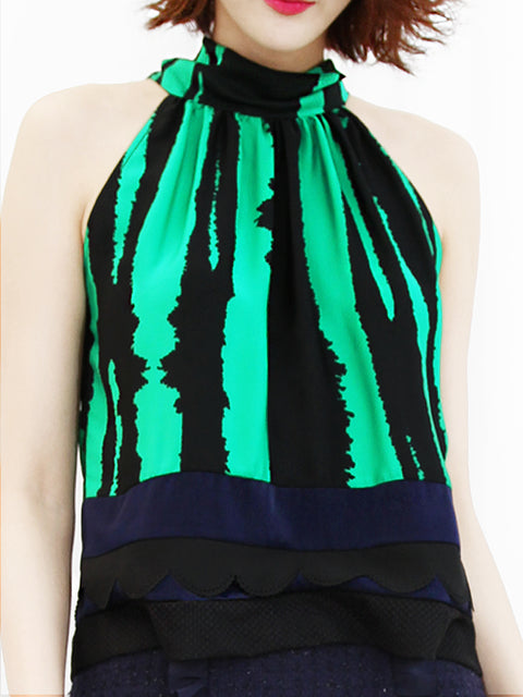 Anniversary Sale! Green-Black Prints Scallop Patched Layer Edge Halter Top