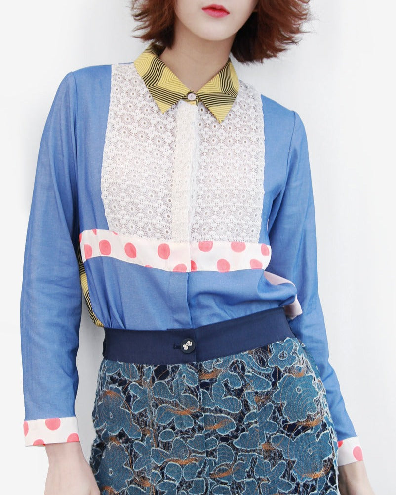 Further Sale! Denim Silk with Mix Printed Trims & Lace Front Shirt