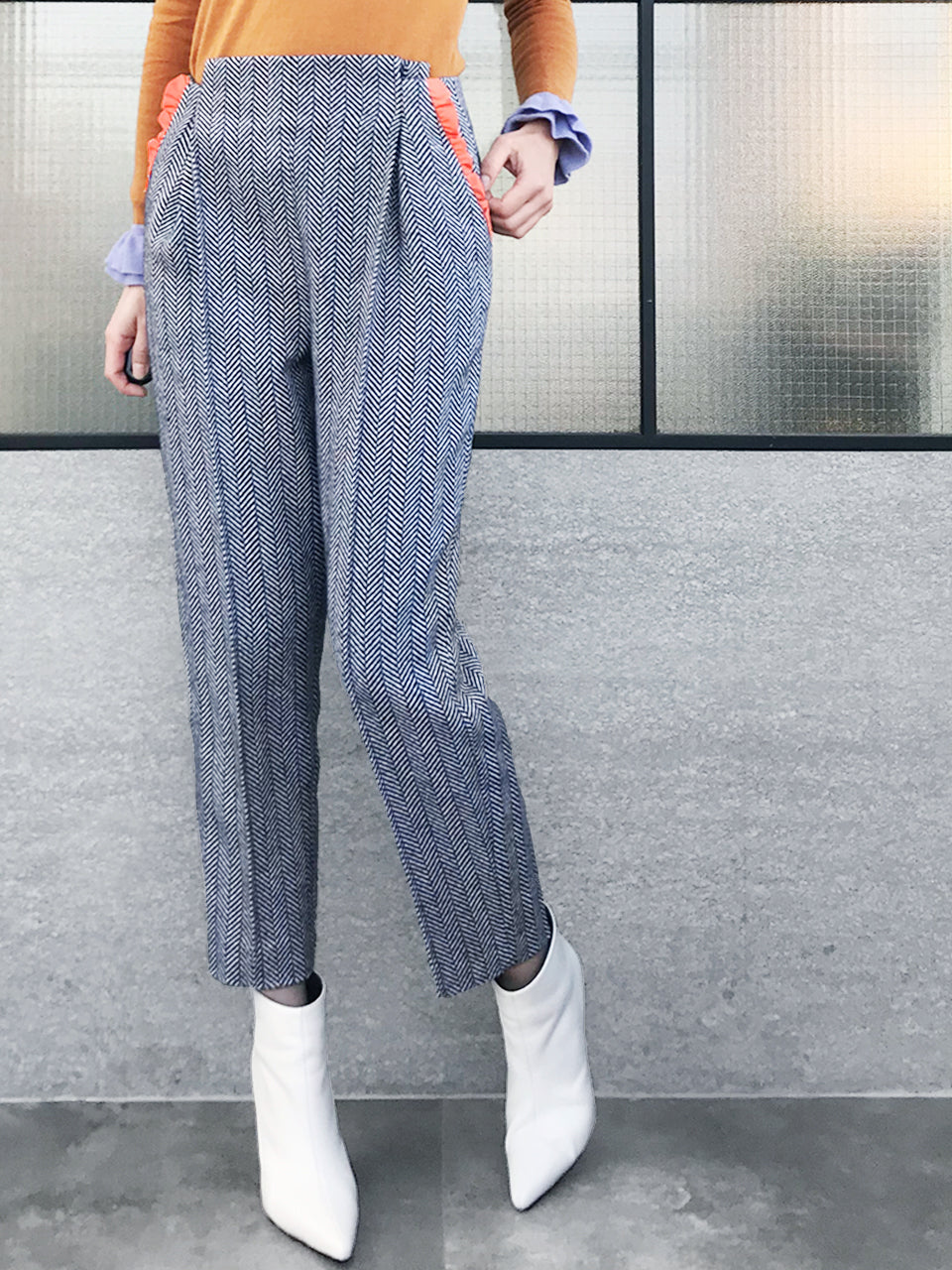 Further Sale! Navy Zigzag Stripes Ruffle Wool Blend Pants