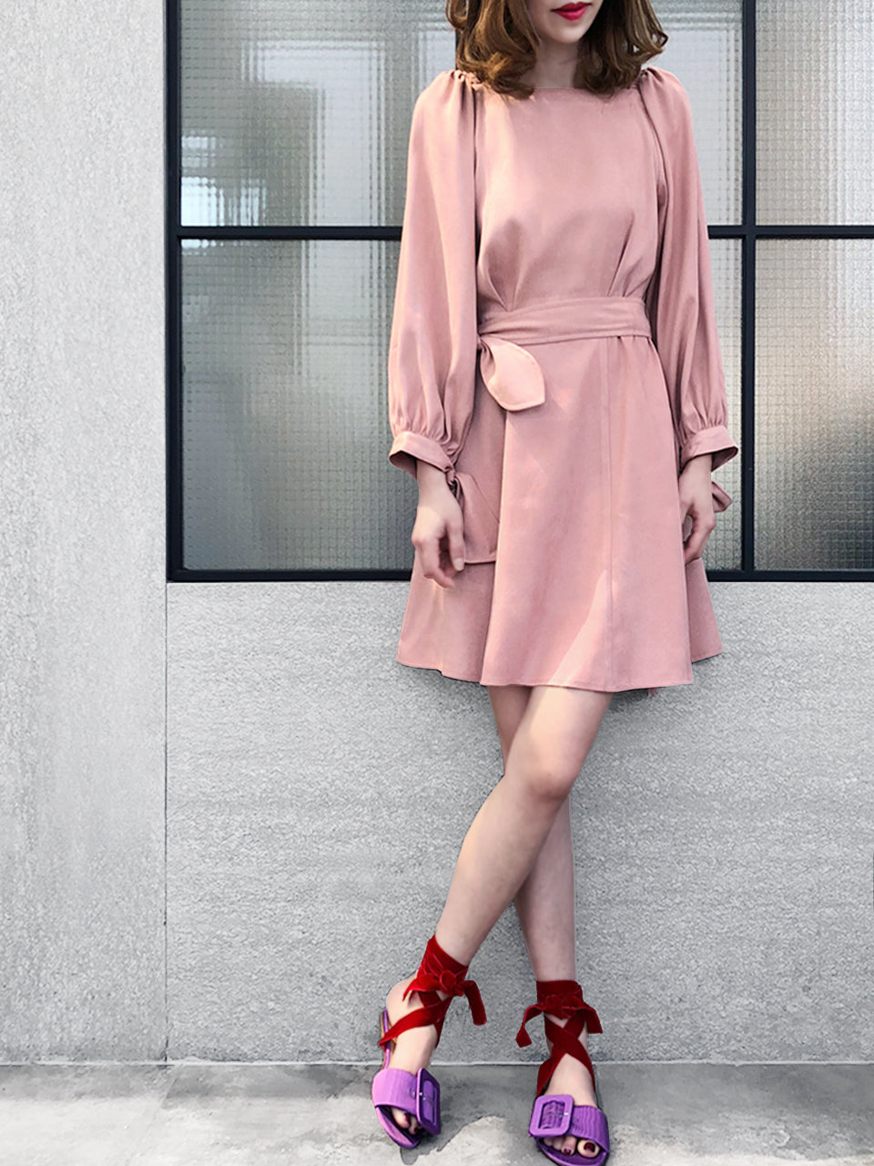 Further Sale! Dirty Pink Tie Front Fit & Flare Square Neck Dress