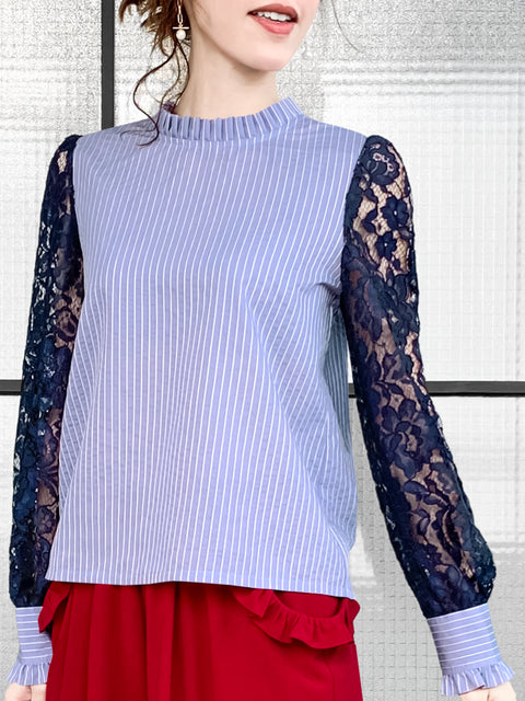 Blue Stripe Navy Lace Sleeves Ruffle Collar Blouse