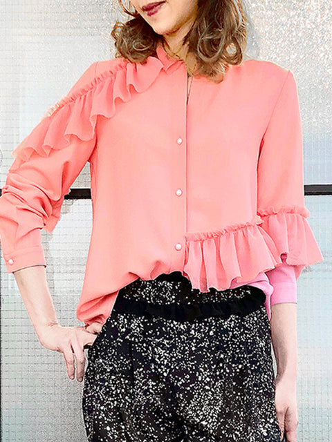 Anniversary Sale! Salmon Pink Loose Fit Ruffle Trim Silk Blouse