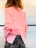 Last Chance! Salmon Pink Loose Fit Ruffle Trim Silk Blouse