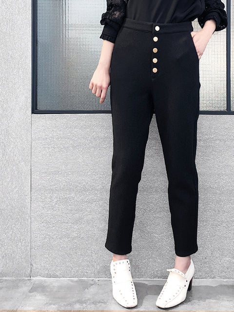 Anniversary Sale! Black Cropped High Waist Taper Trousers