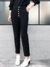 Surprise Sale! Black Cropped High Waist Taper Trousers