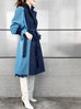 Dark Denim Contrast Furry Balloon Sleeves Trench Coat