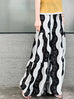 Black & White Spiral Floral Lace Extra Wide Leg Pants