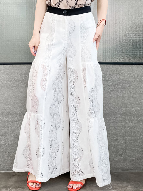 Ivory White Spiral Floral Lace Extra Wide Leg Pants