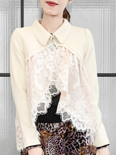 Ivory Wool Blend Swing High/Low Lace Dolly Jacket