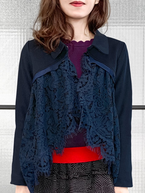 Navy Wool Blend Swing High/Low Lace Dolly Jacket