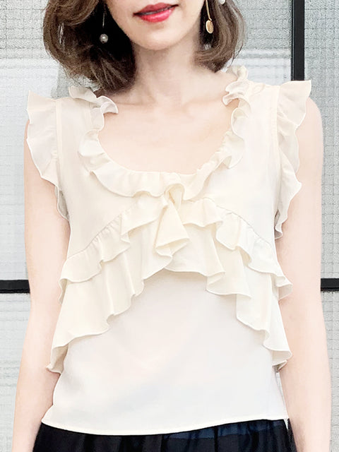 Ivory Flutter Ruffles Sleeveless Drape Silk Top