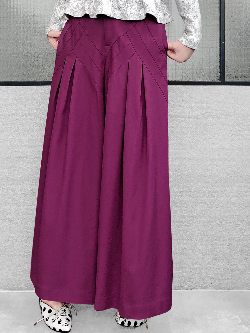 Last Chance! Magenta Origami Pleated Wide-Leg Trousers