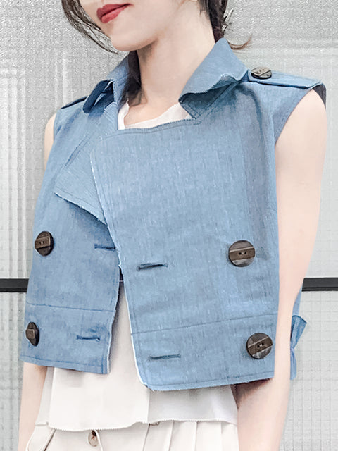 Denim Ruffle Back Double Breasted Sleeveless Crop Jacket