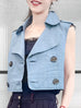 Last Chance! Denim Ruffle Back Double Breasted Sleeveless Crop Jacket