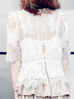 Surprise Sale! White Patch Lace Scallop Edge Mid-Sleeves Top