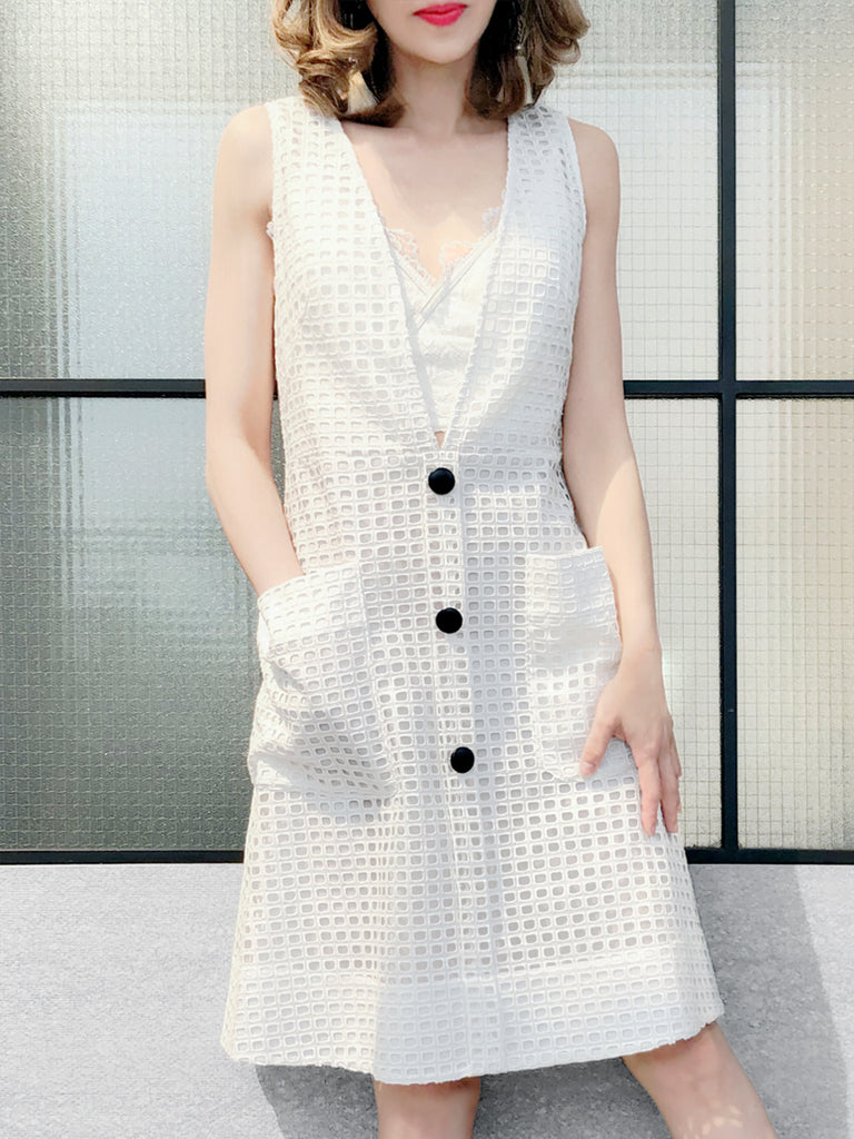 Further Sale! White Window Check Plunging Neckline Button Sleeveless Dress