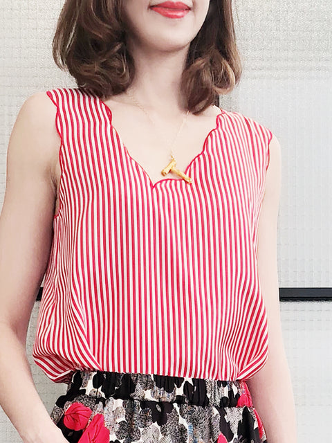 Surprise Sale! Red White Stripe Asymmetrical Neckline Scallop Silky Tank Top