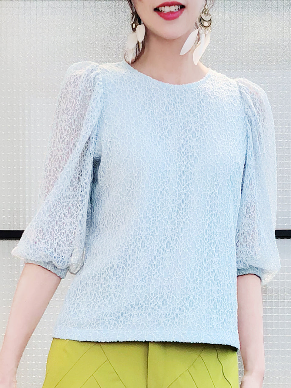 Surprise Sale! Light Blue Blouson Sleeves Embroidery Lace Blouse