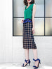 Further Sale! Plaid Silk Back Pleat Ruffle Waist Pencil Skirt