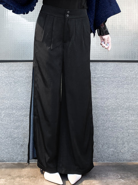 Black Side Slit Layered Prints Wide Leg Trousers