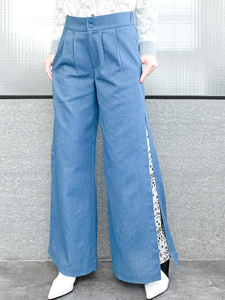 Blue Chambray Side Slit Hidden Prints Wide Leg Trousers
