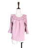 Anniversary Sale! Subtle Striped Pattern Dirty Pink Ruffle Collar Blouse