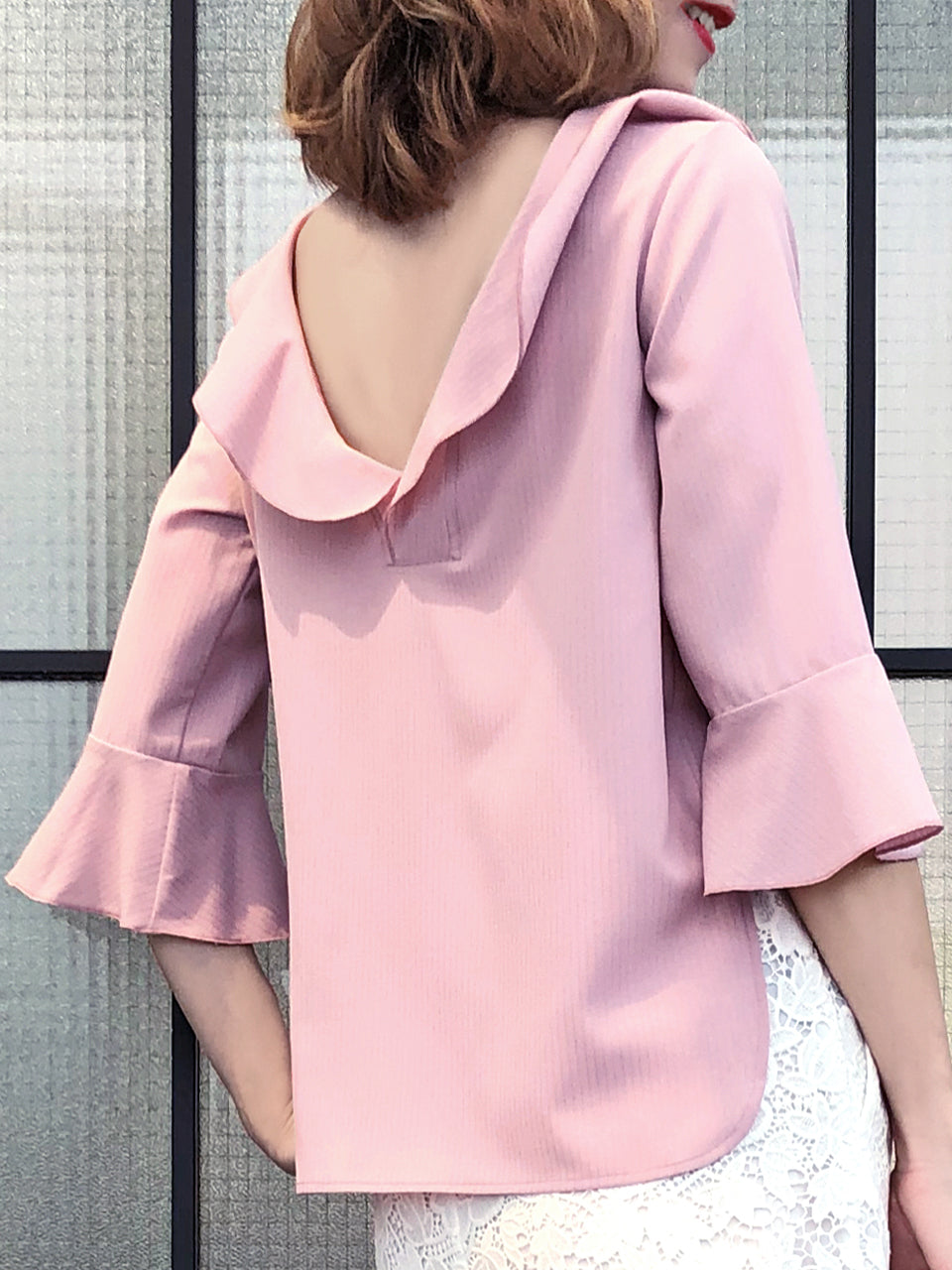 20439f39a61a89 Subtle Striped Pattern Dirty Pink Ruffle Collar Blouse Anniversary Sale! Subtle  Striped Pattern Dirty Pink Ruffle Collar Blouse ...