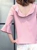 Further Sale! Subtle Striped Pattern Dirty Pink Ruffle Collar Blouse
