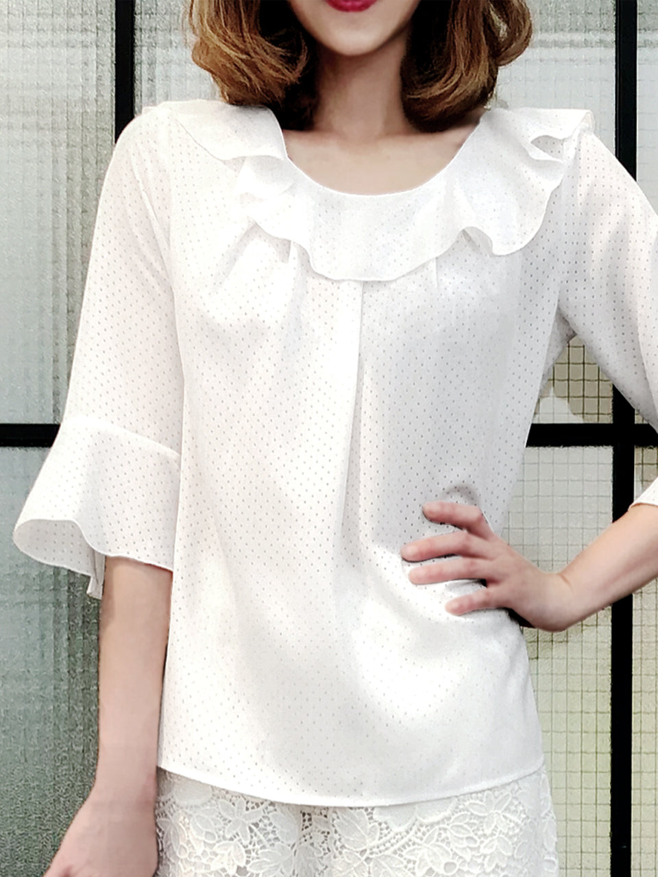 Further Sale! Tiny Cut-out Dots White Ruffle Collar Blouse
